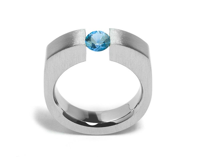 1ct Blue Topaz Tension Set Men's Ring in Stainless Steel