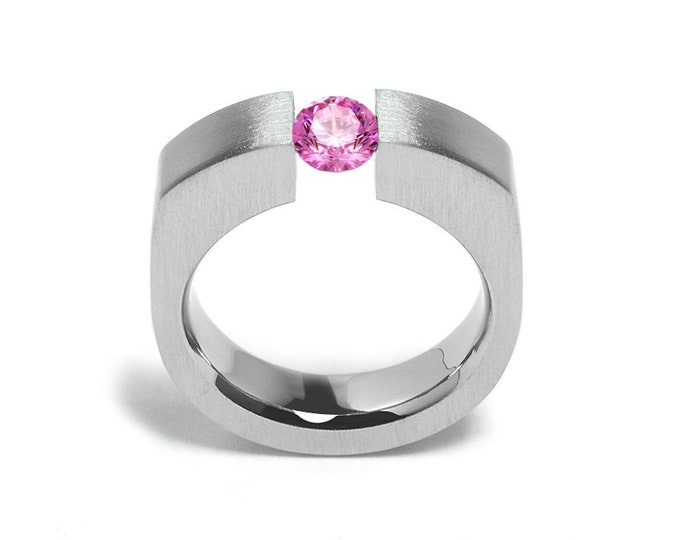 1ct Pink Sapphire Tension Set Men's Ring in Stainless Steel by Taormina Jewelry