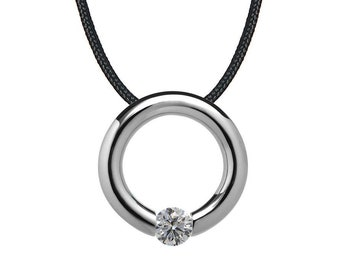 White Sapphire Tension Set Circle Pendant in Stainless Steel by Taormina Jewelry