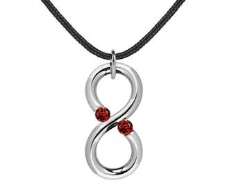 Garnet Infinity Vertical Pendant Tension Set Steel Stainless by Taormina Jewelry