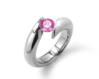 1ct Pink Sapphire Bypass Tension Set Ring in Stainless Steel by Taormina Jewelry