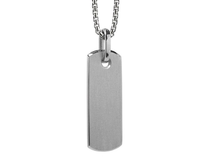 Plain thin tag pendant in Stainless Steel by Taormina Jewelry