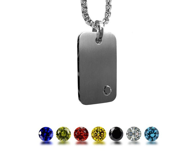 Black Onyx ID Tag Necklace in Stainless Steel by Taormina Jewelry