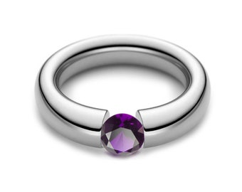 1ct Amethyst Tension Set Tapered Engagement Ring in Stainless Steel
