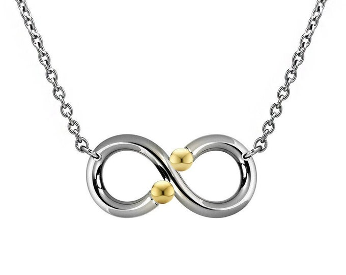Infinity Necklace with Tension Set Gold spheres in Steel Stainless by Taormina Jewelry