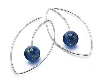 Lapis Lazuli Drop Oval wire Earrings in Stainless Steel