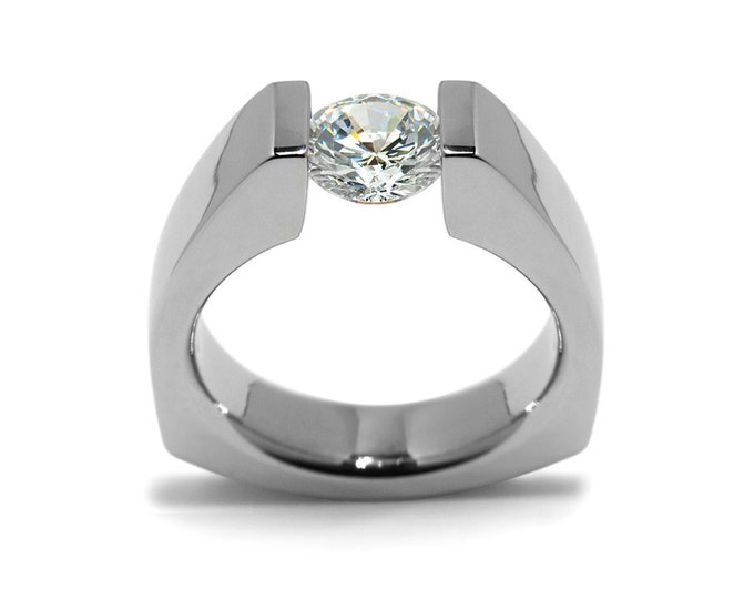 1ct White Sapphire Triangular Tension Set Ring in Stainless Steel Modern Style by Taormina Jewelry