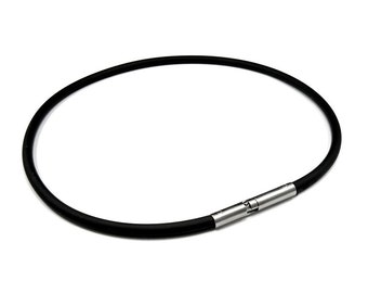 Mens Black Rubber Necklace 4mm Rubber 5mm Twist Clasp by Taormina Jewelry