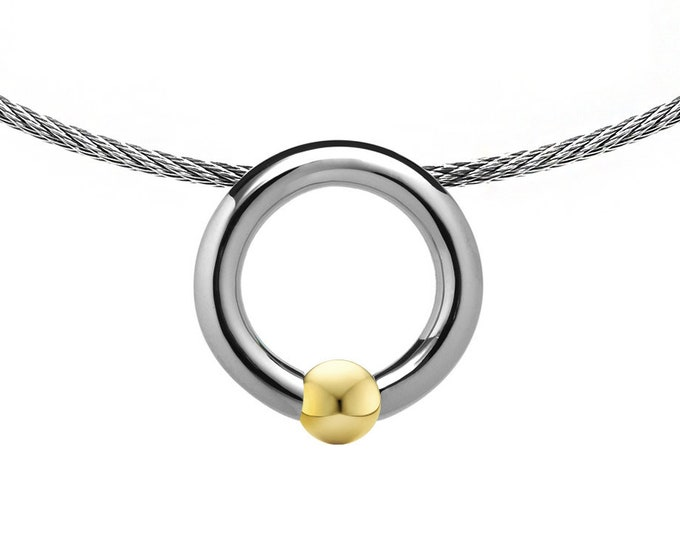 Cable Choker with Tension Set Gold Sphere in Stainless Steel by Taormina Jewelry