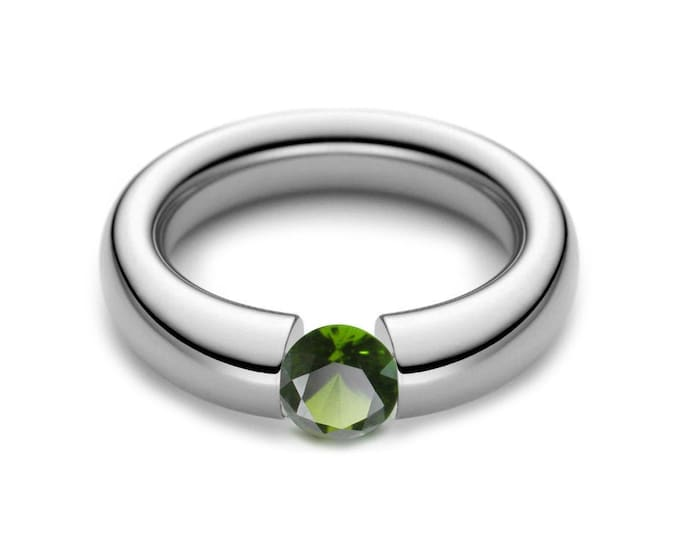 1ct Peridot Tension Set Tapered Engagement Ring in Stainless Steel