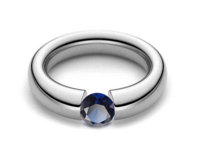 1ct Blue Sapphire Tension Set Tapered Engagement Ring in Stainless Steel