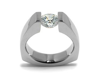 1.5ct White Sapphire Triangular Shaped Tension Set Ring by Taormina Jewelry