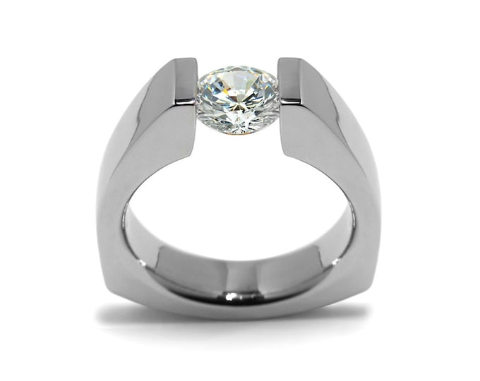 1.5ct White Sapphire Triangular Shaped Tension Set Ring by Taormina Jewelry