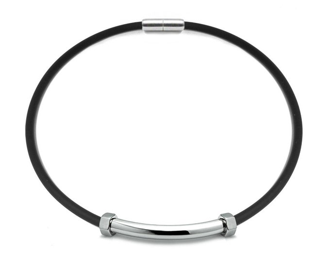 Men's Black Rubber Necklace with Stainless Steel Tube Hex Nuts Element