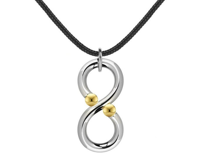 Vertical infinity Necklace with Tension Set Gold spheres in Steel Stainless by Taormina Jewelry