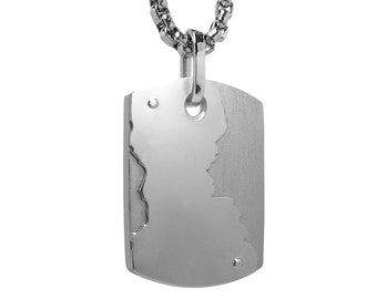 Unique Contemporary ID Tag Necklace Two Tone Stainless Steel by Taormina Jewelry