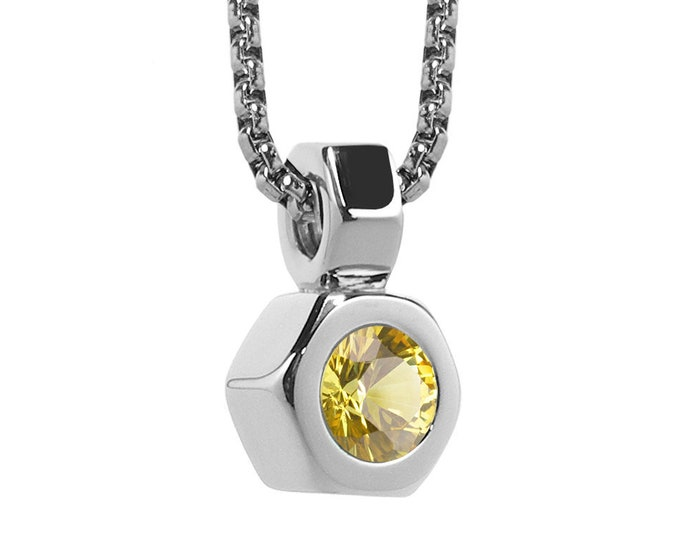 Hex Nut Pendant with Yellow Sapphire in Stainless Steel by Taormina Jewelry