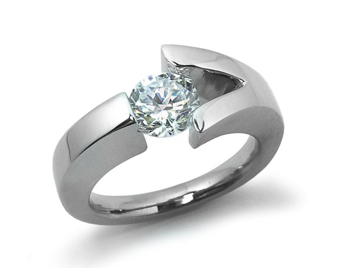 White Sapphire Engagement Ring Tension Set Stainless Steel Modern Style