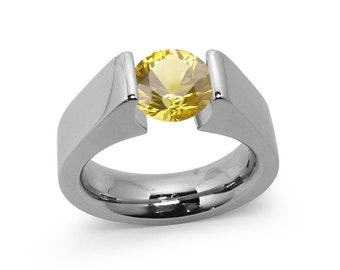 2ct Yellow Sapphire Tension Set Steel High setting Engagement Ring