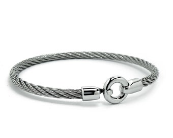 Women's Stainless Steel Cable Wire Bracelet by Taormina Jewelry