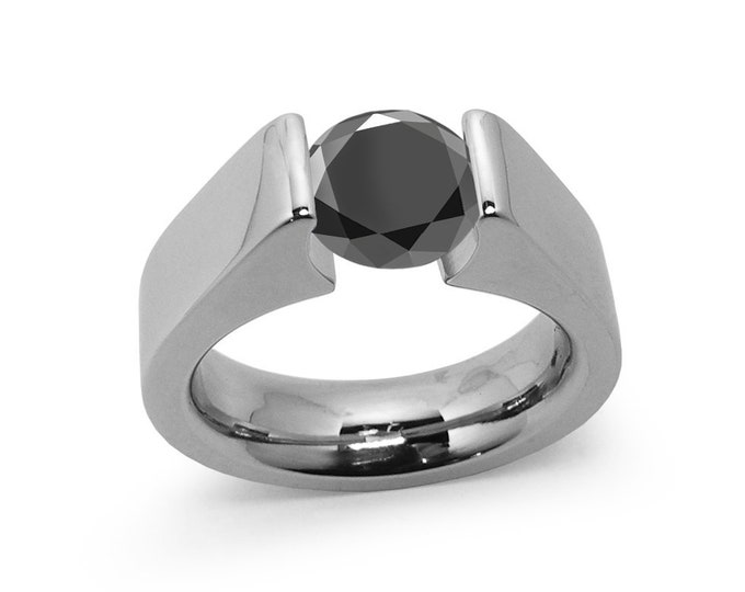 1ct Black Diamond Tension Set Steel High setting Engagement Ring by Taormina Jewelry