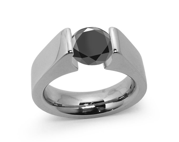 1.5ct Black Diamond Tension Set Steel High setting Engagement Ring by Taormina Jewelry
