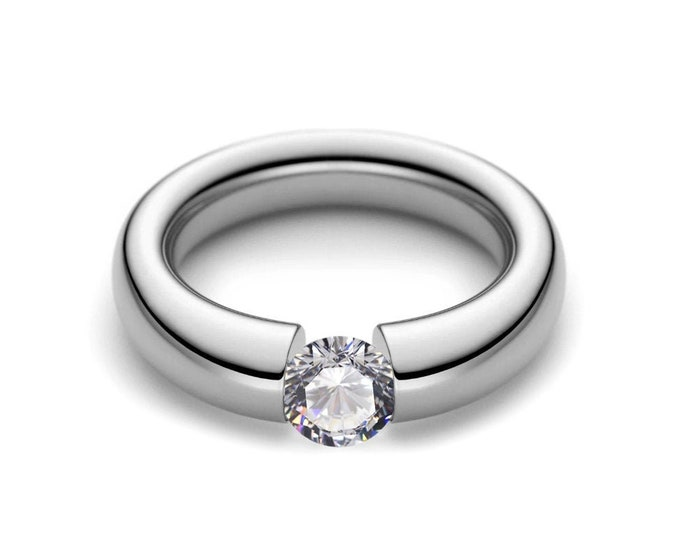 0.75ct White Sapphire Tension Set Ring Brushed Stainless Steel