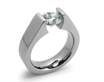 2ct White Sapphire Tension Set Steel High setting Engagement Ring by Taormina Jewelry