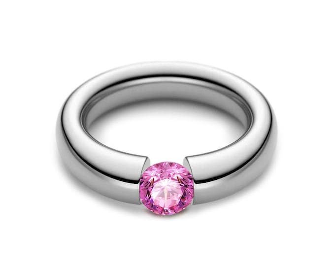 1ct Pink Sapphire Tension Set Tapered Engagement Ring in Stainless Steel