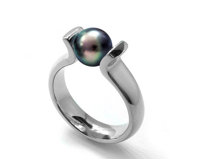 Elegant Black Pearl Ring Tension Set in Steel Stainless by Taormina Jewelry