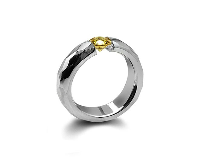 Yellow Topaz Tension Ring Hammered Stainless Steel Mounting