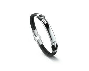 Mens Black Rubber and Stainless Steel Men Bracelet