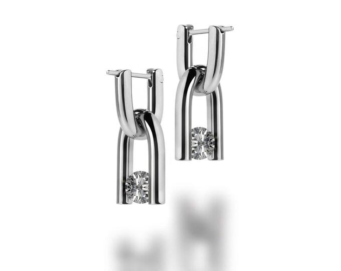 U Shaped Dangle Earrings with White Sapphire Interchangeable Charm