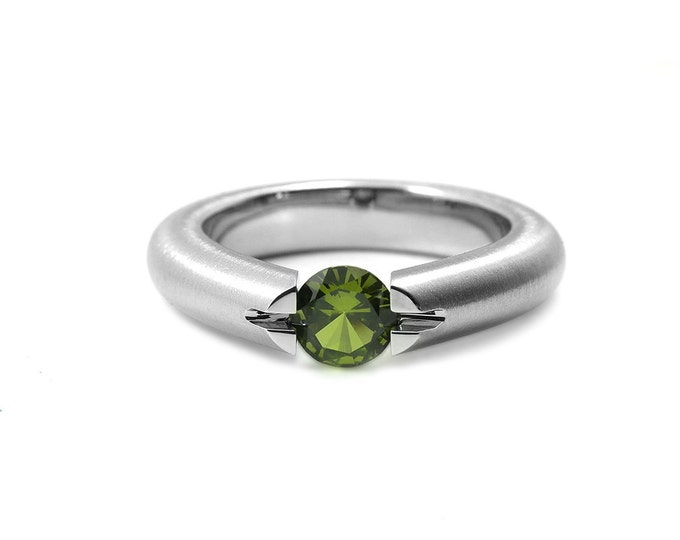 Peridot High Tension Set Ring in Brushed Stainless Steel