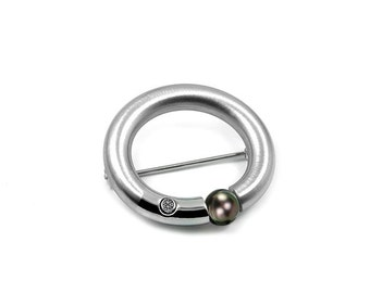 Black Pearl Brooch Stainless Steel Tension Set