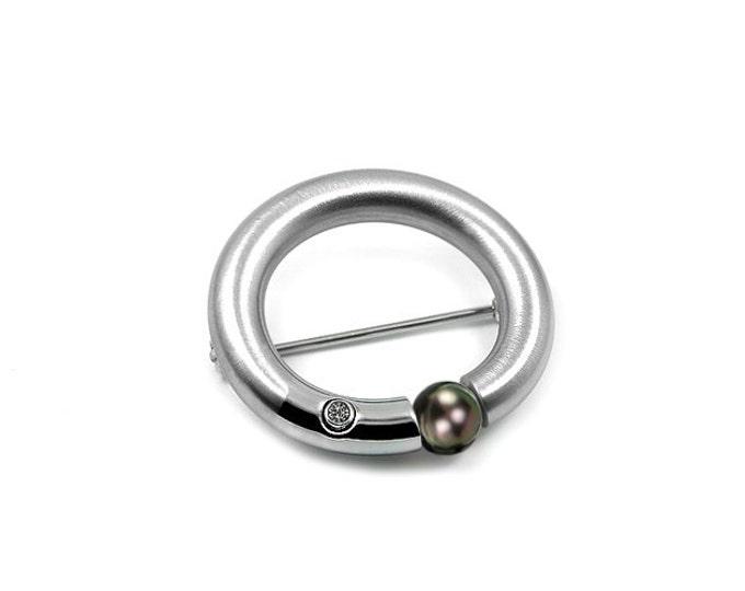 Black Pearl Brooch Stainless Steel Tension Set