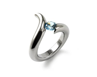 Blue Topaz Tension Set Modern Ring Stainless Steel
