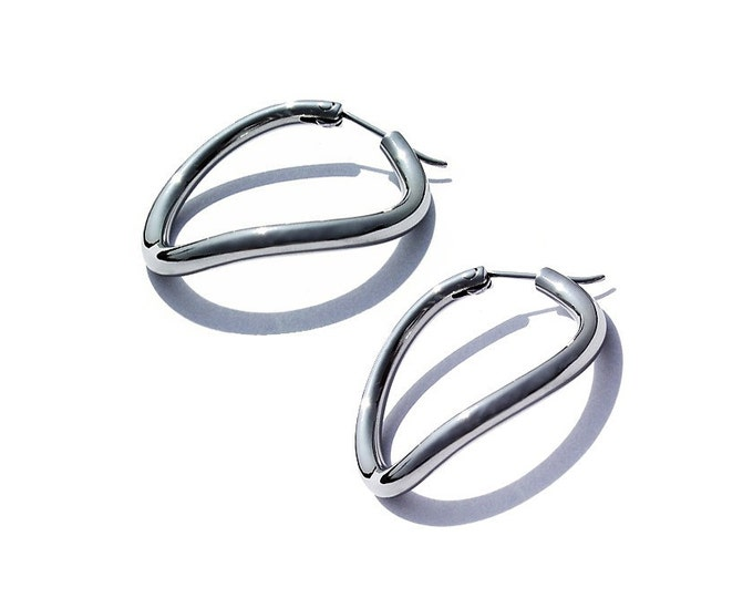 Stainless Steel Hoop Earrings Twisted Design