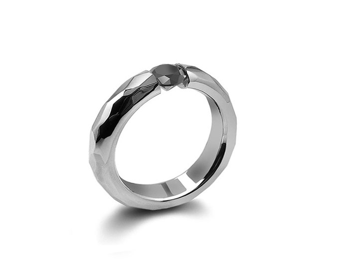 Tension Set Black Diamond Ring Hammered Stainless Steel Mounting