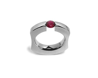 Garnet Tension Set Mens Ring int Stainless Steel