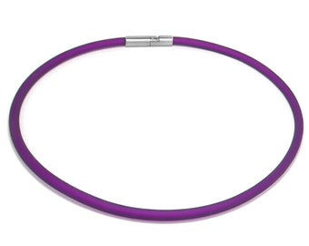 Purple Rubber Necklace 5mm Rubber 6mm Clasp