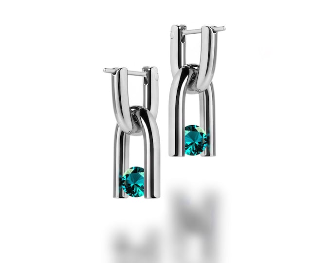 U Shaped Dangling Hoop Earrings in Stainless Steel - Interchangeable Charms with Tension Set Blue Topaz