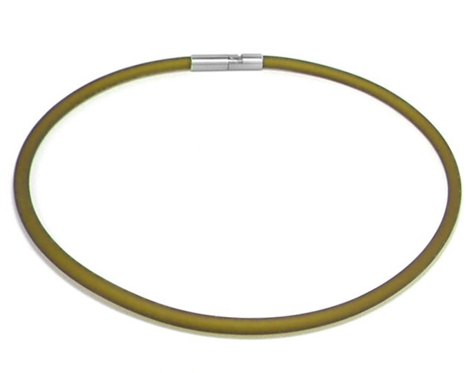Green Rubber Necklace 5mm Rubber 6mm Clasp