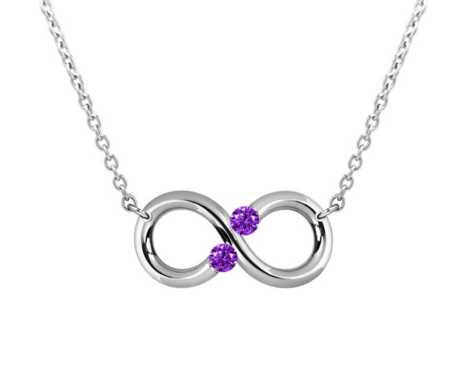 Taormina Infinity Necklace Amethyst Tension Set Steel Stainless