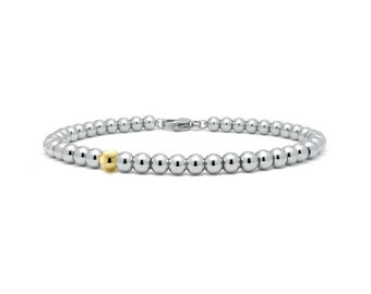 4 mm Beaded Bracelet in Stainless Steel and Gold by Taormina Jewelry