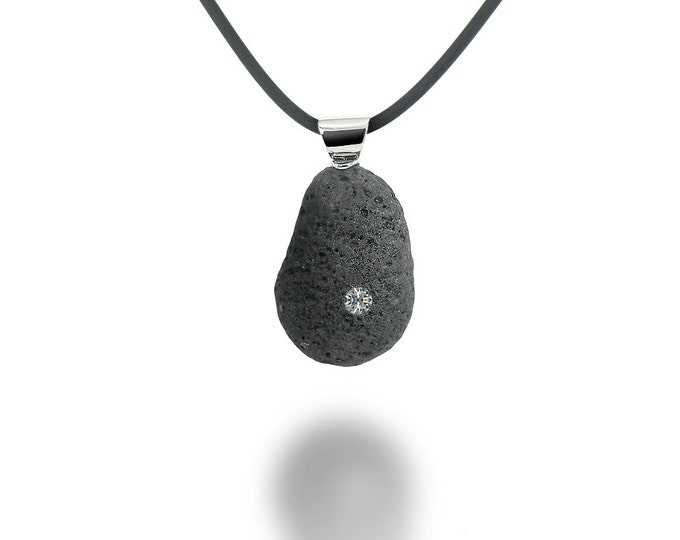 Gray Lava Rock Pendant with White Sapphire and Stainless Steel