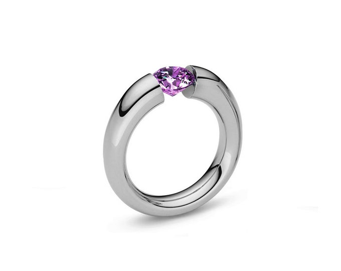 Amethyst Tension Set Ring Tapered Stainless Steel Mounting