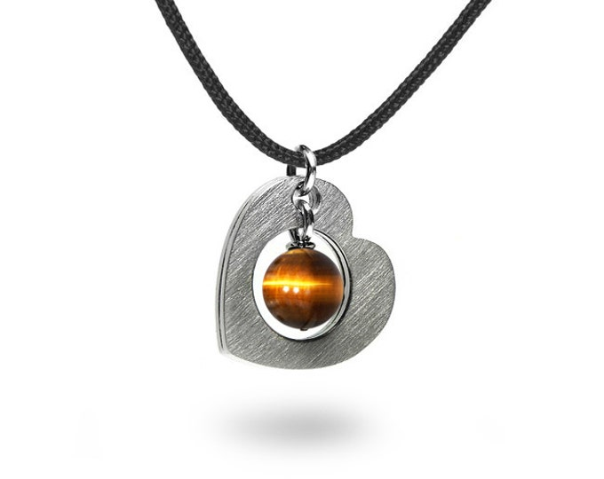 Open Heart Necklace Stainless Steel with Tiger Eye