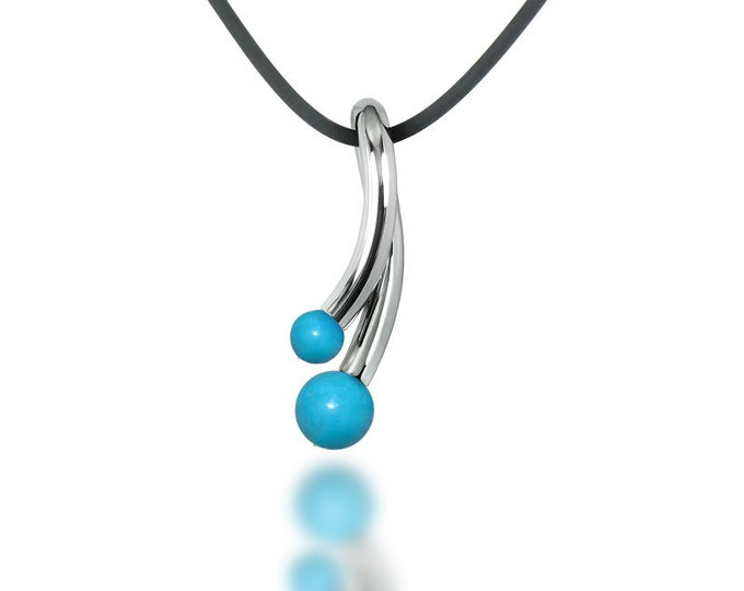 Turquoise Pendant in Stainless Steel