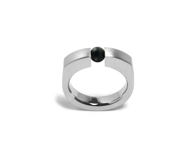 Mens Stainless Steel Ring Tension Set Obsidian Sphere